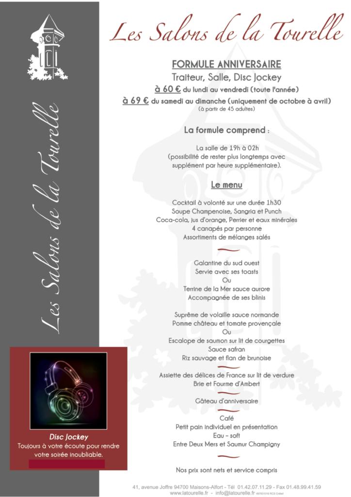 Les Salons de la Tourelle à Maisons-Alfort vous propose une formule anniversaire comprenant la salle, le repas et le Dj